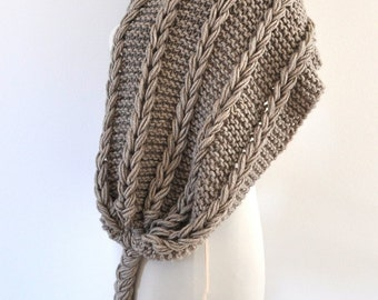Light Brown Scarf Braided Scarf Cowl Fringe Scarf Gift for Her