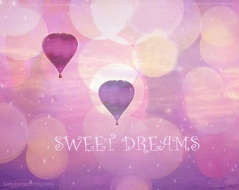 "Pink Purple Hot Air Balloons, Baby Girl Nursery Decor, Carnival Hot Air Balloons, Purple Balloons Nursery Baby Decor ""Sweet Dreams"" Print"