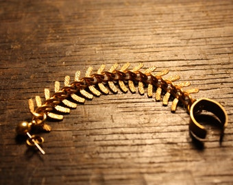Gold Backbone Ear Cuff