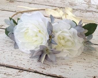 Flower Crown, Wedding Flower Crown, Head Wreath, Weddings, Woodland Headpiece, Boho Flower Crown, Hair Accessories, Headband- Secret Garden