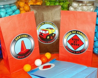 Construction Party Goody Bags. Dump Truck Party. Construction Birthday. Dump Truck Favor Bags. Loot Bag. Set of 10. Choose Size