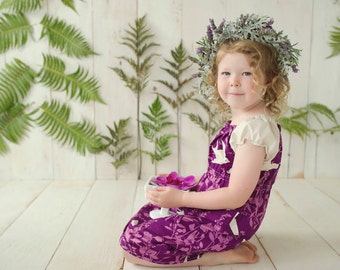 The Salvia Girl's Dress Peasant Style in Purple with Birds and Floral Design - Quality Handmade Girl's Dress