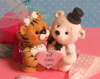 Tiger and Polar Bear Unique  Wedding Cake Topper / Groom's Cake Topper / Bridal Shower Cake Topper / Tiger and Polar Bear