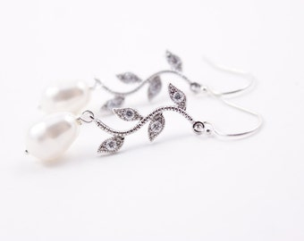 Bridesmaid Jewelry Rhinestone Vine and Pearl Bridal Earrings Alexis