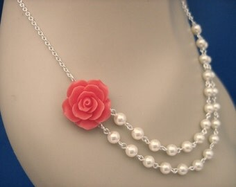 Bridesmaid Jewelry Coral Red Rose and Pearl Double Strand Wedding Necklace