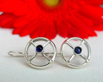 Silver Nautical Earrings with Iolite