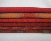 """Rustic Red Combination of Felted wool in  a 8"""" x 8"""" size Number 4009"""