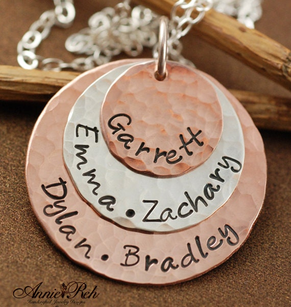 Hand Stamped  Necklace - Mother Jewelry - Copper Sterling Mixed Personalized Discs - Hammered