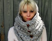 Button Cowl Chunky Cowl Chunky Scarf Knit Cowl Gifts for Her Snood Unisex Cowl 6 Leather Button Wool Cowl Gray Tweed or Choose Your Color