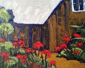 Original Art Impressionist Painting CALIFORNIA Landscape Flower GARDEN Cottage Potting Shed 8x10 Lynne French