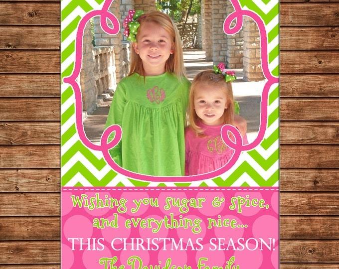 Photo Picture Christmas Holiday Card Pink and Green Sugar Spice Girly Polka Dot Chevron - Digital File