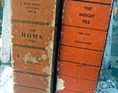 Set of 2 vintage letter files, The Midget File for home use, cool retro storage, alphabetized files inside