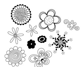 Fusain Doodles No1 Digital Stamps Clipart Clip Art Illustrations - instant download - limited commercial use ok