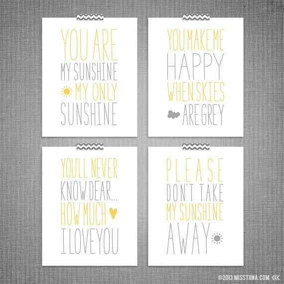 My Sunshine 4pc DIY Printable Digital Wall Art 4x6 5x7 8x10 11x14