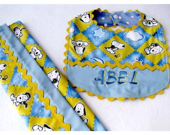 Personalized Baby Snoopy Baby Bib and Burpcloth for Newborn to 12 Months