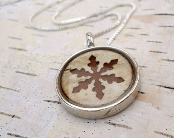 Birch Snowflake Necklace - Rustic Winter Bridesmaid Jewelry -  Wood Snowflake Necklace - Birch Bark Snowflake - Brown and Ivory Jewelry