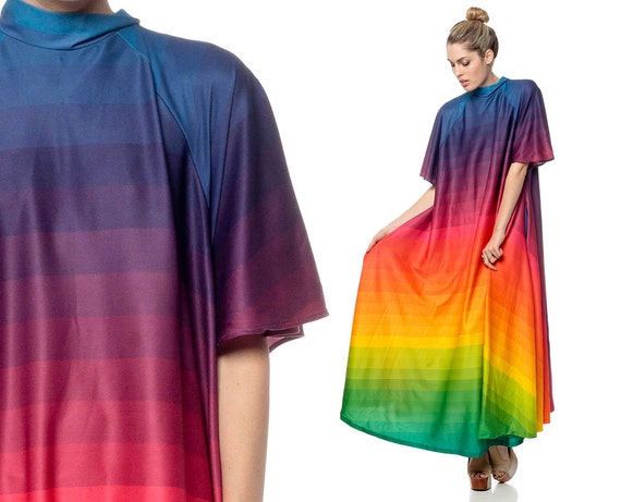 Rainbow Maxi Dress 70s Caftan OMBRE Avant Garde by ShopExile