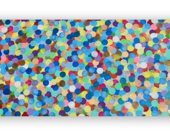 Abstract Circles Acrylic Painting on Canvas BIG 48x24 Playroom Kids Room Made to Order Childrens Wall Art