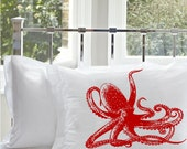 Giant Ruby Red Octopus Ocean Beach PILLOWCASE standard covers bed pillowcases squid 8 eight leg Pillow case room decor