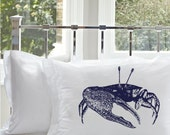 Sale 33% off - One (1) Navy Blue Fiddler Crab Pillowcase pillow case cover white standard nautical decor screen printed