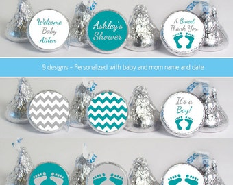baby shower favors (No.k53) boy footprint chevron gray teal candy stickers