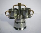 retro chrome brushed gold two cup Italian espresso cafetiere