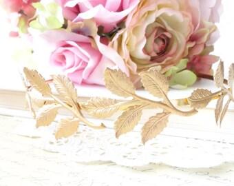 Golden Leaf Branch Headband - Gold Headband - Bridal Crown - Leaf Spray - Woodland Collection - Whimsical - Nature - Bridal