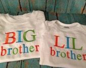 Custom Big brother t-shirt/Little brother onesie set