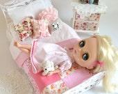 Le Jardin Français Bedding Set for Blythe Barbie or similar size doll 1 6 Scale Playscale