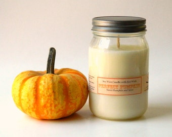 Pumpkin Scented Candle / Farmhouse Mason Jar Soy Candle /Home Decor /  Holiday Candles