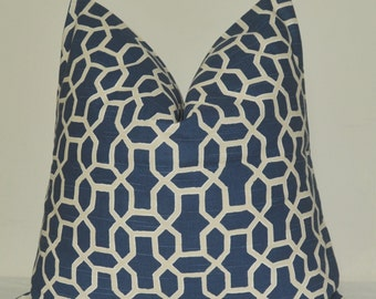 Pillow Cover, Decorative Pillow, Throw Pillow, Toss Pillow, Sofa Pillow, Blue Fretwork, Blue Trellis, Blue Lattice, Home Furnishing