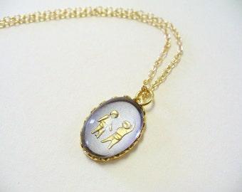 Vintage Gemini Zodiac Necklace DEADSTOCK