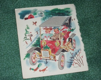 1950s Christmas, New Years Card, Excellent Condition, no envelope