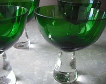Vintage Glasses Green Glass Cocktail Scandinavian Vintage Modern