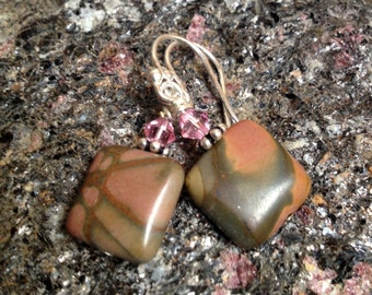Picasso Jasper, Pink Swarovksi Crystal and Sterling Silver Dangle Earrings
