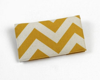 Chevron Fabric Checkbook Cover, Duplicate Checks, Pen Holder, Olive Green, Aqua Blue, Red, Gold