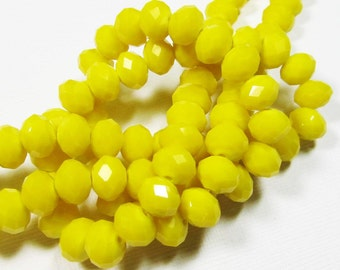 LOOSE Glass Beads - Glass Crystal Beads - 6x8mm Faceted Rondelle - Opaque Yellow (8 beads) - gla553
