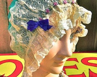 1920s FLAPPER BOUDOIR HAT Exquisite Bed Cap Larger Size Turquoise Silk Lace Rosettes Bow Fabulous