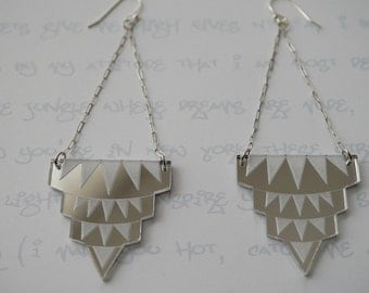 Empire State of Mind Earrings in Silver Mirror