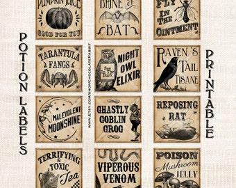 Vintage Potion Labels Halloween Witch Digital Download Printable Collage Sheet Tag Clip Art DIY Scrapbook