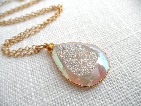 Angel Aura Druzy - Druzy necklace - gold necklace - rainbow druzy - white druzy - D R U Z Y 223