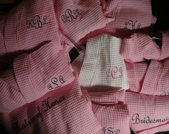 Waffle weave robes - FREE SHIPPING - machine embroidered - your monogram or name