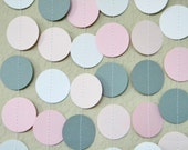 Pinks, White, Gray Circle Dot Garland for Party Decoration, Baby, Baptism, Nursery or Bridal Shower 10 feet - TheKraftRoom