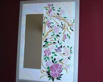 mirror pinks spring feel oriental look feminine and sweet using leadlight glass