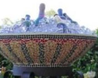 Ice Bucket - Plant Stand - Party Bowl holds 30 bottles - mosaic leadlight glass bright colours. Glass Mosaic Party and Garden Bowl