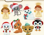 Christmas Cuties Clipart Collection for Scrapbooking and Paper Craft Projects - Instant Download