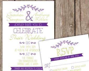 Wedding Invitation Set - Fun, Rustic, Whimsical Wedding Invitation, Purple and Green Wedding Invitation, Mixed Fonts Invitation