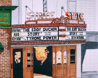 The State Theatre in Statesville North Carolina Print from the Original watercolor by Michael Joe Moore