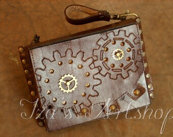 Small Steampunk Leather Belt Bag V