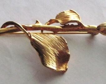 Huge Vintage Long Stem Shimmering Rhinestone Encrusted Rose Brooch Pin